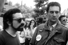 "Robert De Niro and Martin Scorsese on the set of ""Taxi Driver""; Behind The Scenes Photos from ""Taxi Driver"" (1976) Taken by Steve Schapiro;"