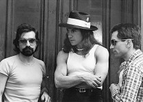 "Martin Scorsese, Harvey Keitel and Robert De Niro during shooting of ""Taxi Driver."" Photography by Steve Schapiro."