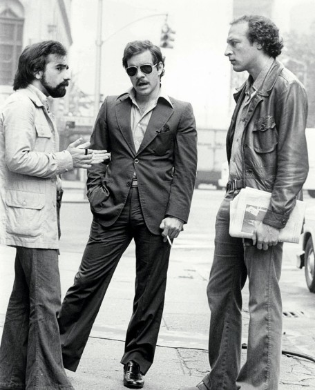From left: Martin Scorsese, Paul Schrader and Michael Phillips during shooting of the film.