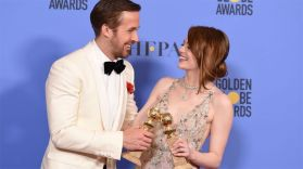 Ryan Gosling and Emma Stone at the 74th annual Golden Globe Awards at the Beverly Hilton Hotel on Sunday, Jan. 8, 2017, in Beverly Hills, California.