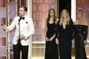 "Ryan Gosling winning the Golden Globe Award for ""Best Actor in a Leading role Comedy/Musical"""