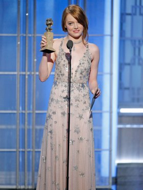 "Emma Stone winning the Golden Globe Award for ""Best Actress in a Leading role Comedy/Musical"""