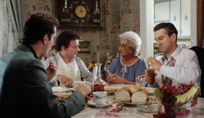 The dinner scene with Tommy's mother is largely improvised, including Tommy asking if he could borrow her butcher's knife and the paw/hoof debate. Furthermore, Martin Scorsese's mother, Catherine, plays Tommy's mother. She and the cast ad-libbed the dinner scene. Scorsese's father, Charles, plays Vinny the prisoner, who puts too many onions in the tomato sauce, and later murders Tommy.