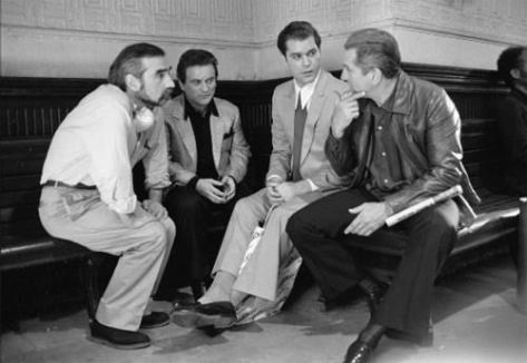 Robert De Niro, Joe Pesci & Ray Liotta with Director Martin Scorsese. On the set of GOODFELLAS (1990). Scorsese had to struggle for gathering the budget for his film due to his battle with drugs and alcohol during most of the 80's. Once Robert De Niro agreed to play Conway, Scorsese was able to secure the money needed to make the film.