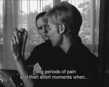 "Persona's frequent shots of ""overlapping faces."" - For the scene in where Andersson and Ullmann meet in the bedroom at night, and their faces overlap, a great amount of smoke was used in the studio to make for a blurrier shot. Bergman used a mirror to compose his shots. - The film has lent itself to a variety of interpretations, with Professor Thomas Elsaesser remarking it ""has been for film critics and scholars what climbing Everest is for mountaineers: the ultimate professional challenge. Besides Citizen Kane, it is probably the most written-about film in the canon"". Much of the focus has been on the resemblance of the characters, demonstrated in shots of overlapping faces, and the possibility that the two characters are one.[18] If they are one person, there is a question if Alma is fantasizing about the actress she admires, or if Elisabet is examining her psyche, or if the boy is trying to understand who his mother is. In a question of duality, Alma represents soul while Elisabet represents a stern goddess. Susan Sontag suggests that Persona is constructed as a series of variations on a theme of ""doubling"". The subject of the film, Sontag proposes, is ""violence of the spirit""."