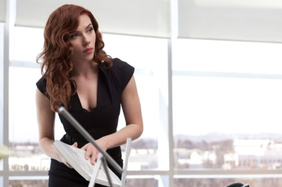 """Scarlett Johansson as the """"Black Widow"""" in Iron Man 2: she'd be quite fetching in a gi, don't you think?"""