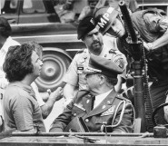 "Michael Cimino and Robert De Niro on the set of ""the Deer Hunter"""