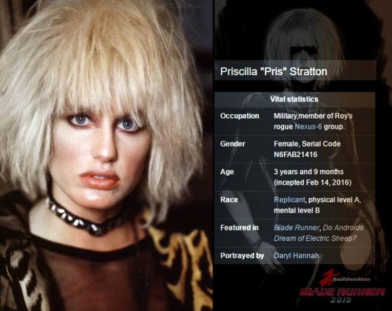 """Pris"" is one of the Nexus 6 Replicants - a ""pleasure model"" designed for soldiers, played by Daryl Hannah. She is doll-like and naive. Daryl Hannah had the idea that Pris could do gymnastics, because Hannah herself was very skilled. According to Hannah, ""Pris was eternally grateful to Roy [Batty] because she'd been designed as a pleasure unit and he'd saved her from a life of prostitution"" (Sammon 169). Eventually, Deckard shoots and kills Pris. 