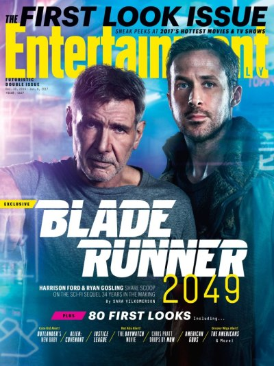 Harrison Ford and Ryan Gosling on the cover fo Entertainment Weekly January 2017 Issue - EW Jan 6th, 2017