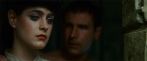 "In the scene in his bathroom, when Rachael asks Deckard if he would follow her if she left, he says he wouldn't and then leaves the room, but he stops, puts his hand on her shoulder and says ""But someone would."" When he says this, Deckard's eyes have a red glow, the same effect seen in the other replicants' eyes and in Tyrell's owl. In relation to this scene, Ridley Scott maintains that that effect was purposely set up and executed on the set, but Harrison Ford denies this, saying it was unintended. In an interview with Paul Sammon in 2007, Ford comments simply ""I might have strayed into her light"" (Future Noir, 565 - 2nd Edition).]"