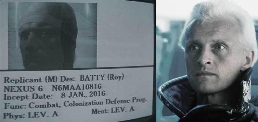 Roy Batty | Replicant (M) Des: Batty (Roy) | Rutger Hauer as Roy Batty in Ridley Scott's Blade Runner (1982)