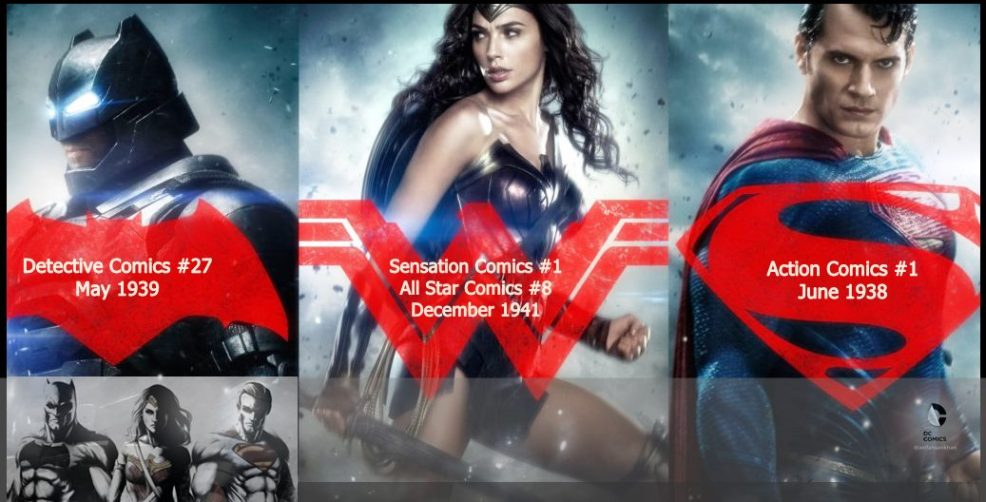 Batman v Superman: Dawn of Justice is the first live-action film to feature Batman and Superman together, as well as the first live-action cinematic portrayal of Wonder Woman.