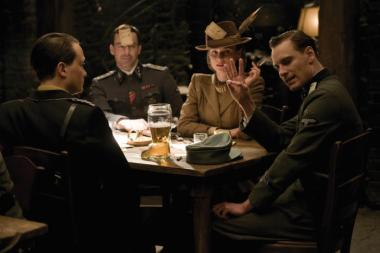 August Diehl (Major Dieter Hellstrom), Gedeon Burkhard (Cpl. Wilhelm Wick), Diane Kruger (Bridget Von Hammersmark) and Michael Fassbender (Lt. Archie Hicox) in INGLOURIOUS BASTERDS.