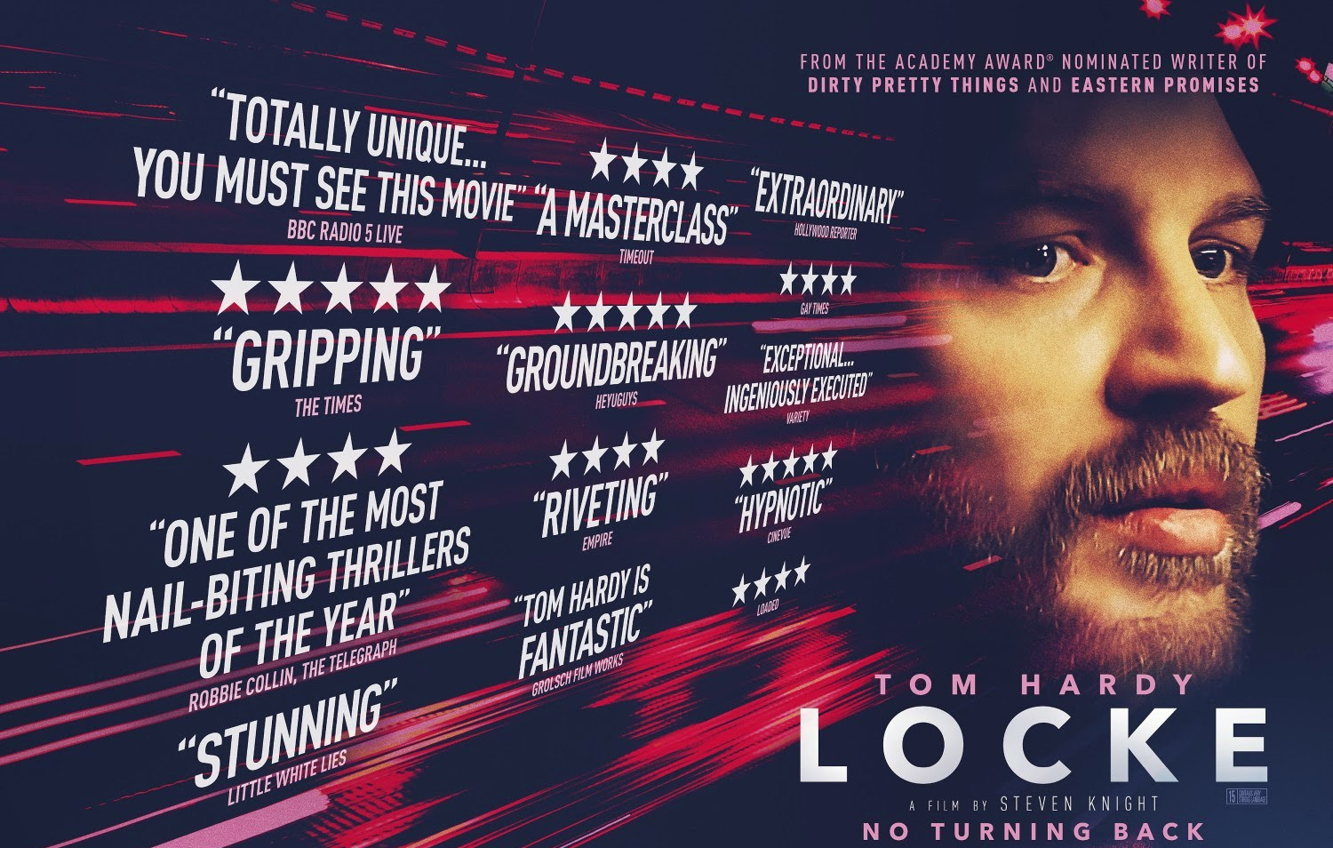 "Taut, tense, and terrific, ""Locke"" is a textbook example of fine acting by the very talented Hardy. A man's (Tom Hardy) life unravels after he leaves a construction site at a critical time and drives to London to be present for the birth of a child conceived during a one-night stand."
