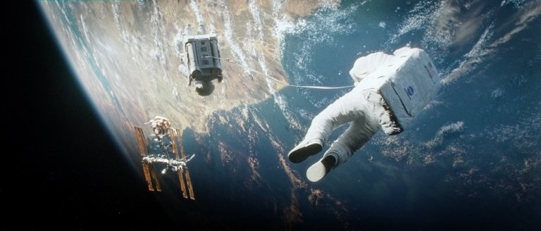 """""""Gravity"""" is the 2013 British Science-fiction adventure film directed, co-written, co-edited and co-produced by Alfonso Cuarón. It stars Sandra Bullock and George Clooney as astronauts who are stranded in space after the mid-orbit destruction of their space shuttle, and their subsequent attempt to return to Earth."""